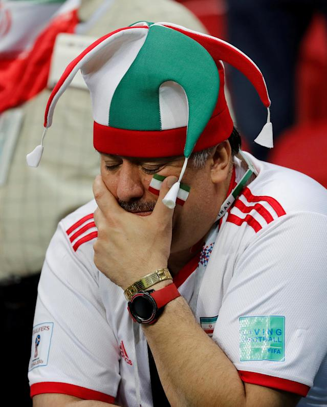 Soccer Football - World Cup - Group B - Iran vs Spain - Kazan Arena, Kazan, Russia - June 20, 2018 Iran fan looks dejected after the match REUTERS/Toru Hanai TPX IMAGES OF THE DAY