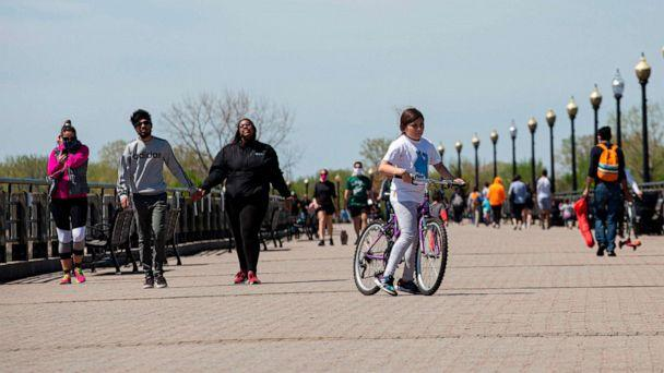 PHOTO: People visit Liberty State Park in Jersey City, New Jersey, May 2, 2020. (Kena Betancur/AFP/Getty Images)