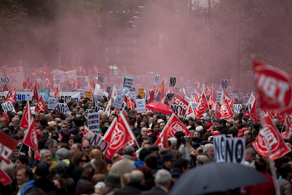 People attend a demonstration organized by Unions against the financial cuts in health and education on April 29, 2012 in Madrid. Trade Unions CCOO and UGT called for a demonstration against the severe austerity plans of the Spanish government. In April, unemployment reached a record rate and the government has announced that immigrants with no legal status will not be covered by the health public services. The government aims to get the deficit down to 5.3 percent this year and 3.0 percent in 2013. (Photo by Pablo Blazquez Dominguez/Getty Images)