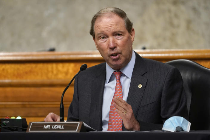 FILE - In this Sept. 24, 2020 file photo, Sen. Tom Udall, D-N.M., speaks during a Senate Foreign Relations Committee hearing on Capitol Hill in Washington. (AP Photo/Susan Walsh, Pool, File)