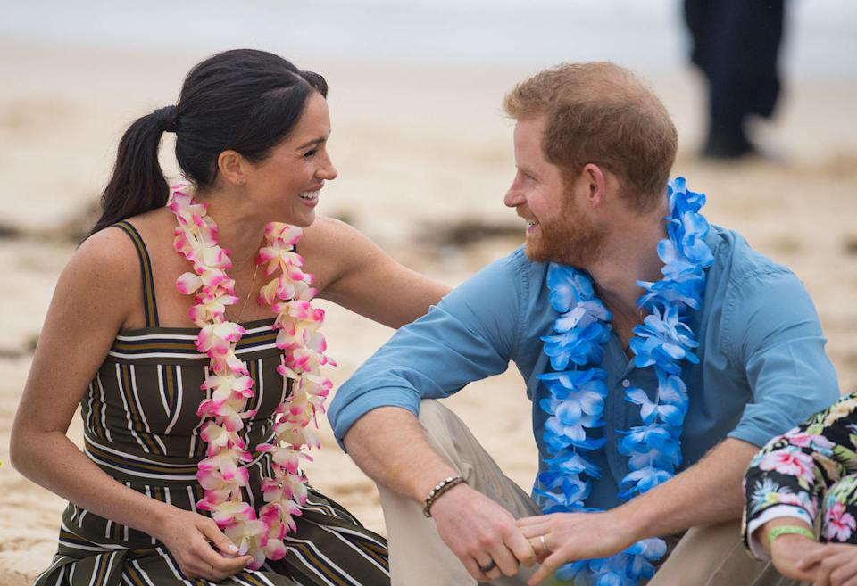 Prince Harry and Meghan Markle during a visit to South Bondi Beach in Sydney, on the fourth day of the royal couple's visit to Australia.