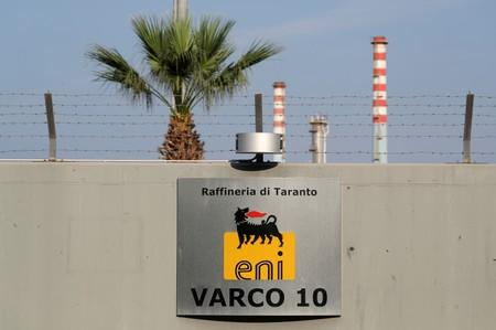 FILE PHOTO: An entrance of the oil refinery of Eni is seen in Taranto