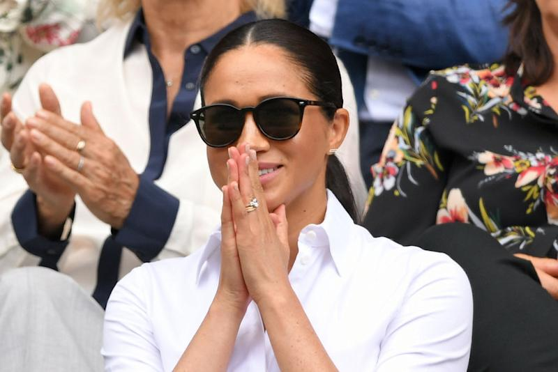 Meghan, Duchess of Sussex wearing Le Specs Bandwagon sunglasses. (Photo by Karwai Tang/Getty Images)