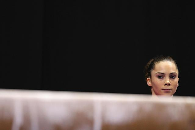 ST. LOUIS, MO - JUNE 8: McKayla Maroney gets ready to compete on the balance beam during the Senior Women's competition on day two of the Visa Championships at Chaifetz Arena on June 8, 2012 in St. Louis, Missouri. (Photo by Dilip Vishwanat/Getty Images)
