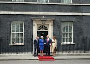 Philip May and Prime Minister Theresa May welcoming US President Donald Trump and first lady Melania Trump to Downing Street, London, on the second day of his state visit to the UK. (PA)