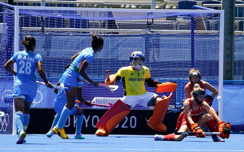 Hinch defends her goal in the bronze medal match - AP