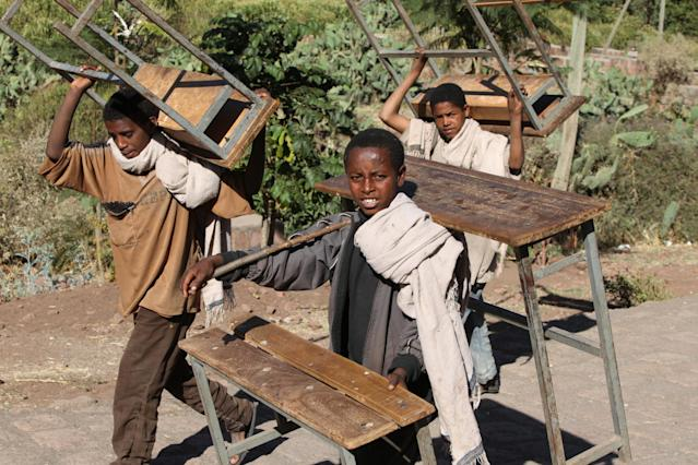 Underage working remains a problem in Ethiopia despite government efforts to curb it. 41.5% of the country's population aged between 7 and 14 are engaged in child labour. Children from underdeveloped regions of the country are forced into areas of work such as shoe shining, vending, mining, and even unpaid labor.