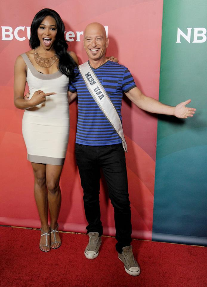 """Miss USA Nana Meriwether and Howie Mandel (""""America's Got Talent"""") attend the 2013 NBC Universal Summer Press Day held at The Langham Huntington Hotel and Spa on April 22, 2013 in Pasadena, California."""