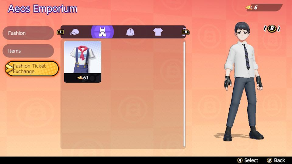 You can use Fashion Tickets to exchange for Trainer clothing (Image: Nintendo)