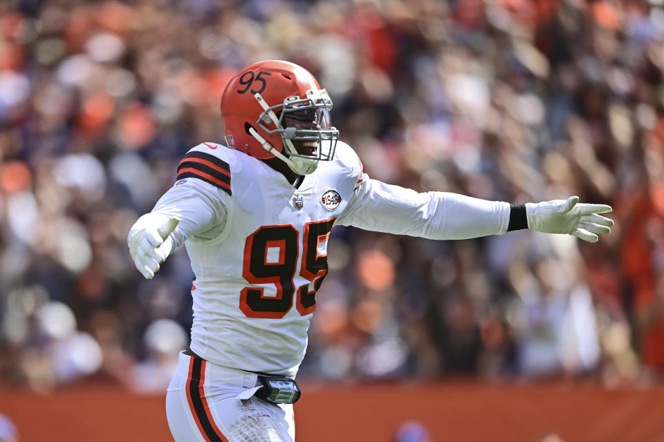 Cleveland Browns defensive end Myles Garrett celebrates a sack of Chicago Bears quarterback Justin Fields during the first half of an NFL football game, Sunday, Sept. 26, 2021, in Cleveland. (AP Photo/David Dermer)