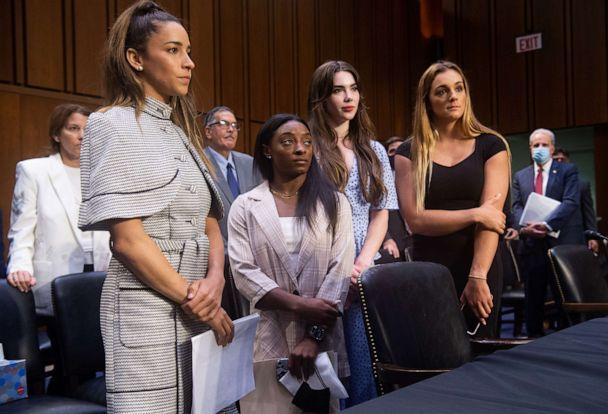 PHOTO: Olympic gymnasts Aly Raisman, Simone Biles, McKayla Maroney and NCAA and world champion gymnast Maggie Nichols leave after testifying during a Senate Judiciary hearing. (Saul Loeb/Pool/Getty Images)