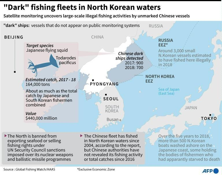 Graphic on unmarked Chinese fishing vessels in North Korean waters suspected of illegally catching squid
