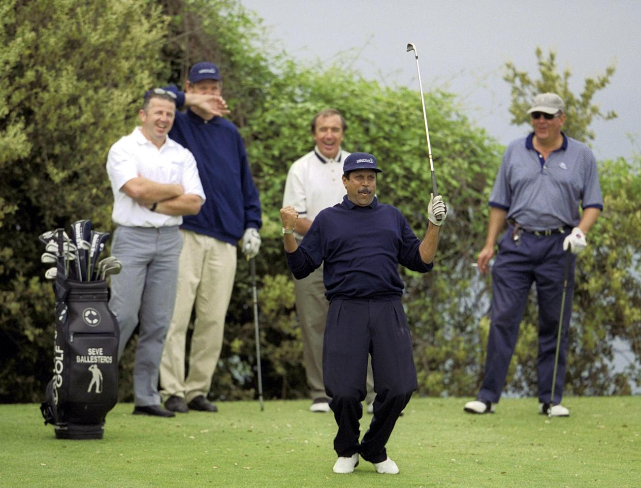 21 May 2001:  World Sports Academy founder member and former cricketer Kapil Dev celebrates during the Laureus Golf Challenge at the Monte Carlo Golf Club prior to the Laureus World Sports Awards in Monaco. Mandatory Credit: David Cannon/ALLSPORT