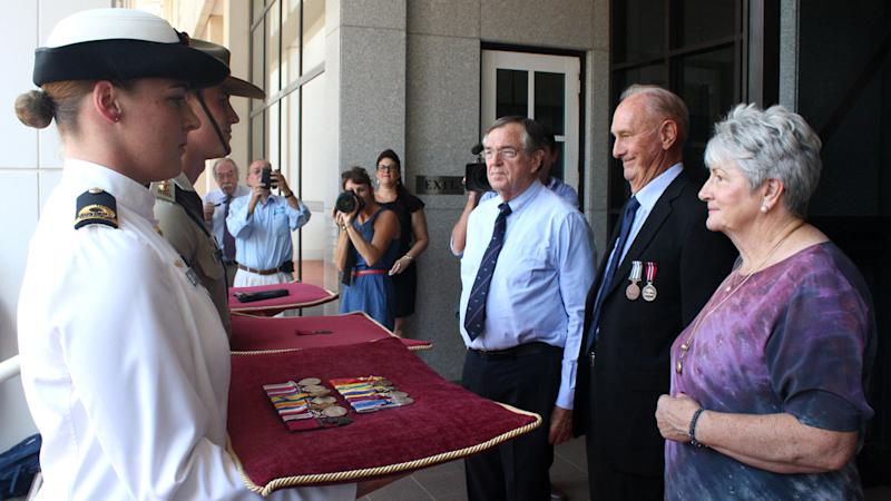 A Victorian Cross awarded to NT farmer turned fighter Albert Borella has gone on display in Darwin.