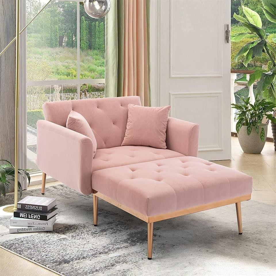 <p>With this <span>Sleerway Velvet 2-in-1Chaise Lounge Chair</span> ($350), you honestly get the best of both worlds. It's a nice chair for the living room, but it folds out into a twin-size bed for guests.</p>