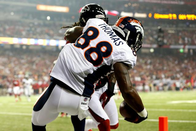 ATLANTA, GA - SEPTEMBER 17: Wide receiver Demaryius Thomas #88 of the Denver Broncos scores a touchdown in the second quarter against the Atlanta Falcons during a game at the Georgia Dome on September 17, 2012 in Atlanta, Georgia. (Photo by Kevin C. Cox/Getty Images)