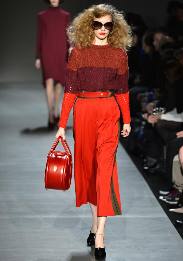 <p><strong>Marc by Marc Jacobs autumn/winter 2013 show</strong></p> <p>Block colours were a key component, with one model showcasing trousers cropped at the hem.</p>