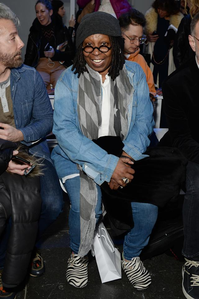 Whoopi Goldberg attends the Chromat AW18 front row during New York Fashion Week at Industria Studios on February 9, 2018 in New York City. (Photo: Getty Images)