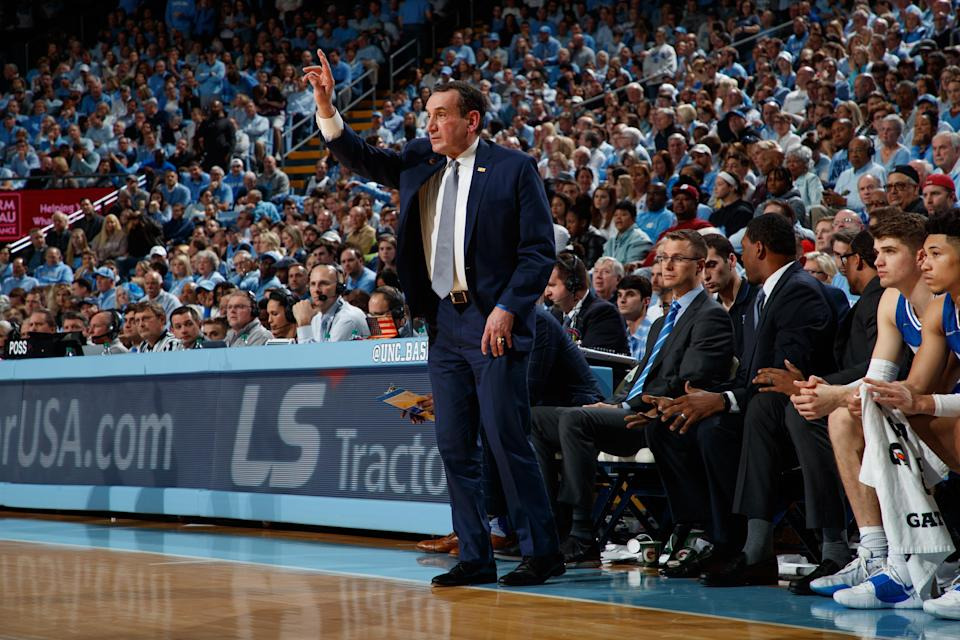 Duke coach Mike Krzyzewski delivered a strong message of support to the Black Lives Matter movement on Friday. (Peyton Williams/UNC/Getty Images)