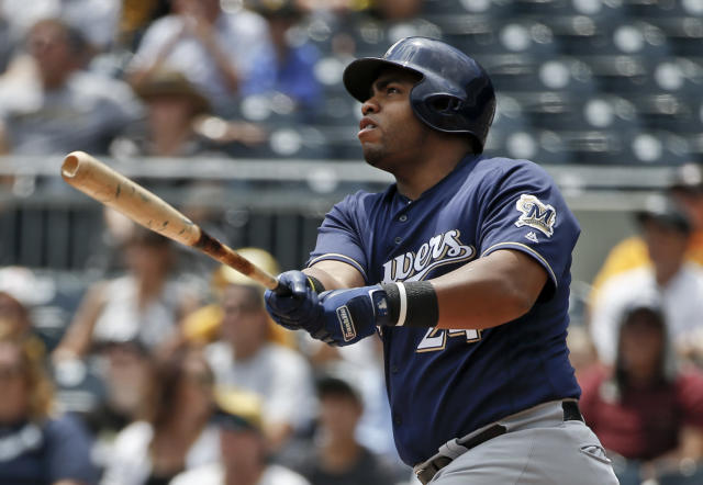 Milwaukee Brewers' Jesus Aguilar bats against the Pittsburgh Pirates in the first inning of a baseball game, Sunday, July 15, 2018, in Pittsburgh. (AP Photo/Keith Srakocic)