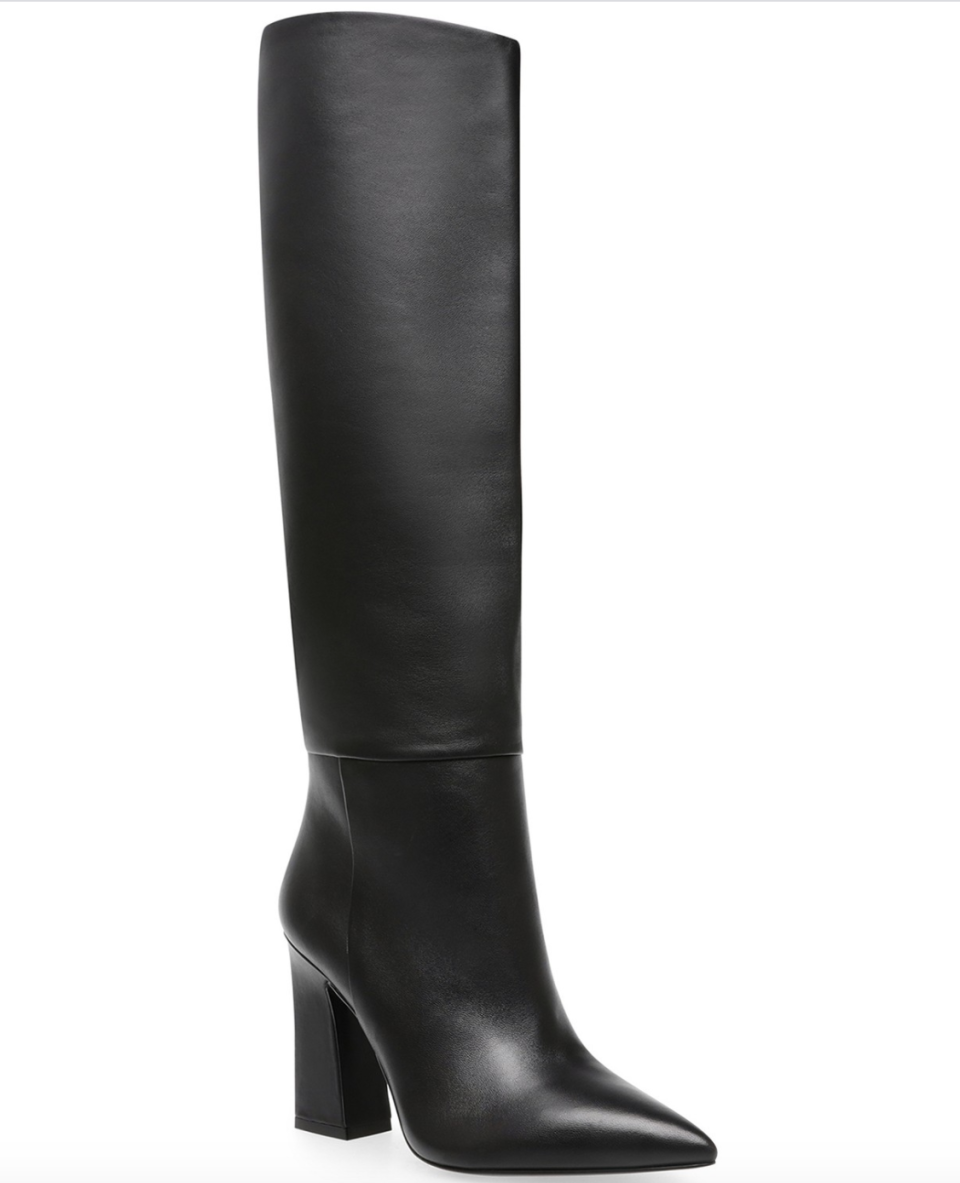 """<p><strong>Steve Madden</strong></p><p>macys.com</p><p><strong>$189.00</strong></p><p><a href=""""https://go.redirectingat.com?id=74968X1596630&url=https%3A%2F%2Fwww.macys.com%2Fshop%2Fproduct%2Fsteve-madden-womens-showbiz-stovepipe-boots%3FID%3D11355481&sref=https%3A%2F%2Fwww.marieclaire.com%2Ffashion%2Fg34382850%2Fwinter-2020-shoe-trends%2F"""" rel=""""nofollow noopener"""" target=""""_blank"""" data-ylk=""""slk:SHOP IT"""" class=""""link rapid-noclick-resp"""">SHOP IT </a></p><p>This pointed toe pair from Steve Madden will fit seamlessly into your wardrobe. </p>"""