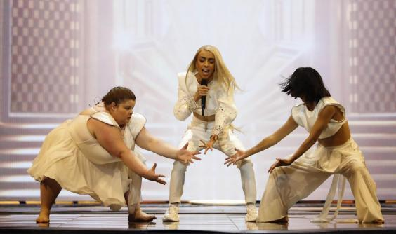 Bilal Hassani rehearses ahead of the 64th edition of the Eurovision Song Contest in Tel Aviv on 13 May, 2019. (JACK GUEZ/AFP/Getty Images)
