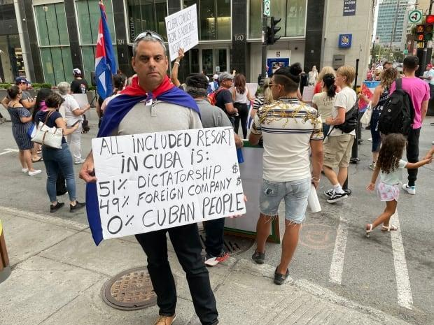 Felix Blanco, who grew up around the tourist city of Varadero, Cuba, attends a protest in Montreal on July 24, 2021. (Evan Dyer - image credit)