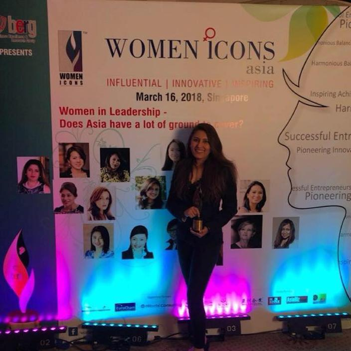 Anu Shah, with her award at the Women Icons Asia summit in Singapore in 2018.