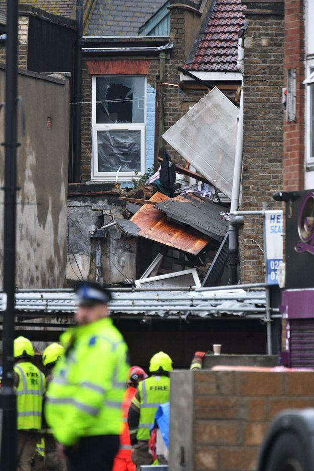 Emergency services at the scene of a suspected gas explosion on King Street in Southall, west London
