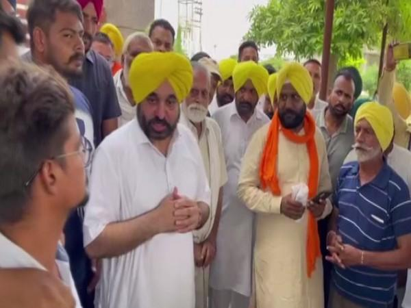 AAP MP Bhagwant Mann speaking to party workers in Punjab. (Photo/ANI)