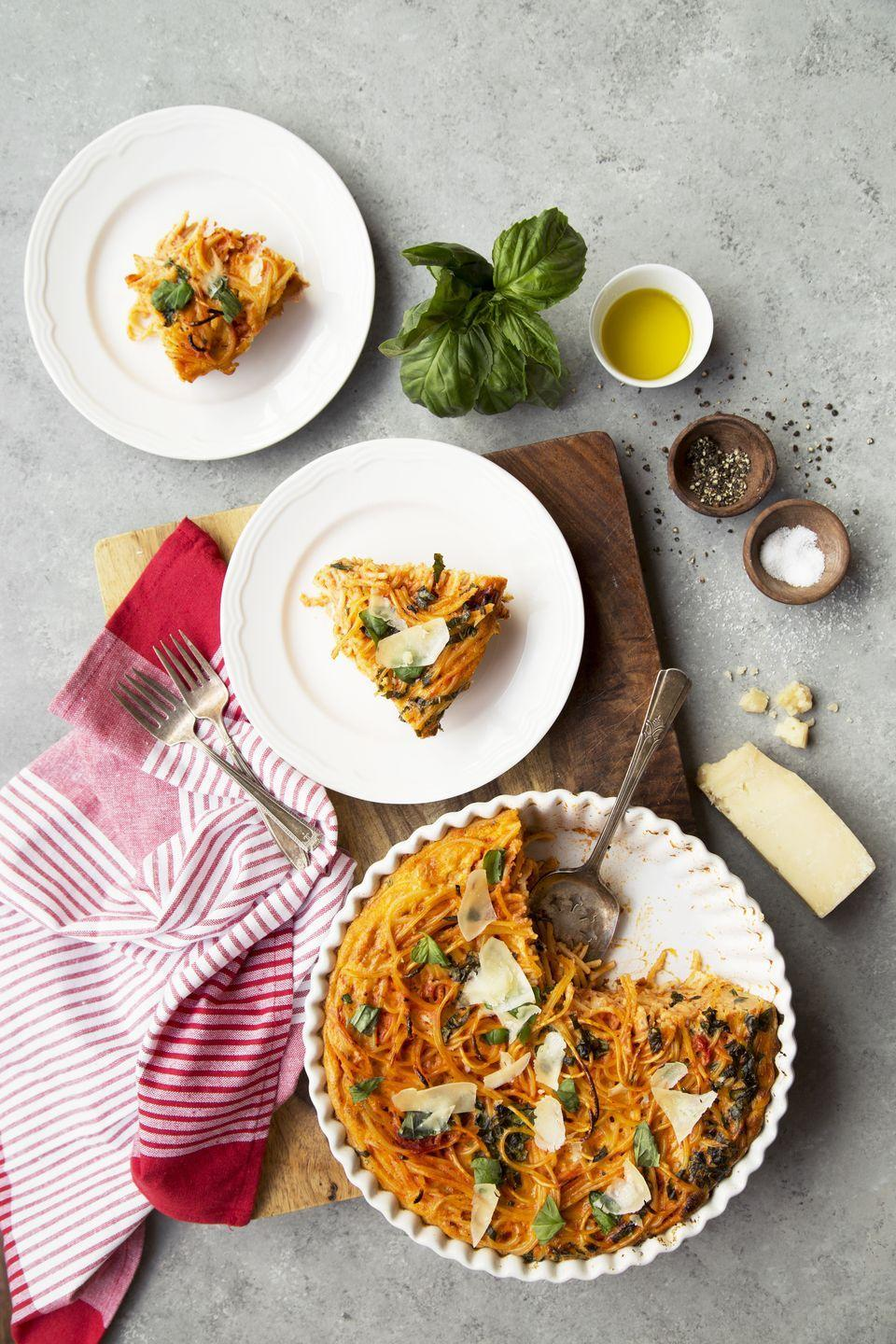 "<p>You'll never go back to a pastry crust after this one.</p><p>Get the recipe from <a href=""https://www.delish.com/cooking/recipe-ideas/recipes/a52307/spaghetti-quiche-recipe/"" rel=""nofollow noopener"" target=""_blank"" data-ylk=""slk:Delish"" class=""link rapid-noclick-resp"">Delish</a>.</p>"