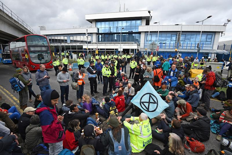 An Extinction Rebellion protest at London City Airport. (PA)
