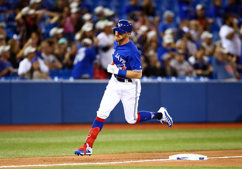 TORONTO, ON - AUGUST 30: Derek Fisher #20 of the Toronto Blue Jays runs the bases after hitting a home run in the eighth inning during a MLB game against the Houston Astros at Rogers Centre on August 30, 2019 in Toronto, Canada. (Photo by Vaughn Ridley/Getty Images)