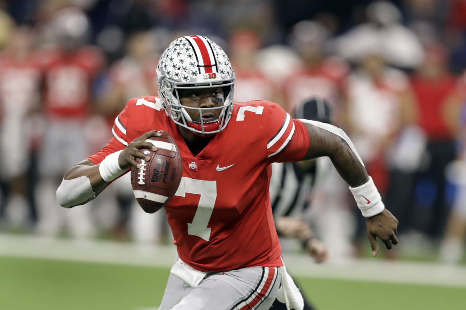 Ohio State QB Dwayne Haskins looks to throw during the first half of the Big Ten championship game Dec. 5. (AP)