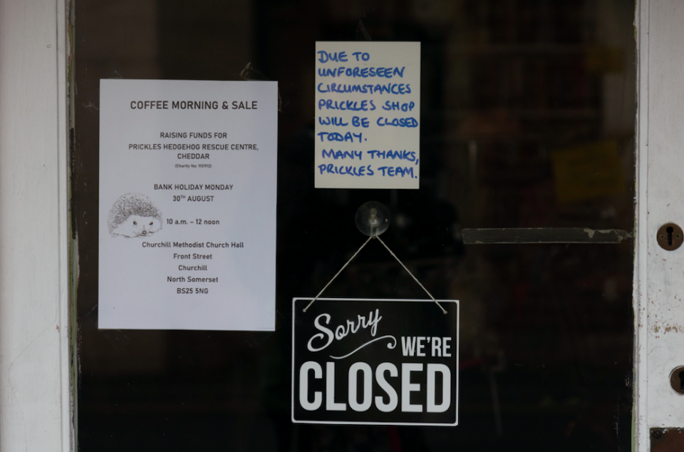 Local business Prickles put up a sign saying they were closed. (SWNS)