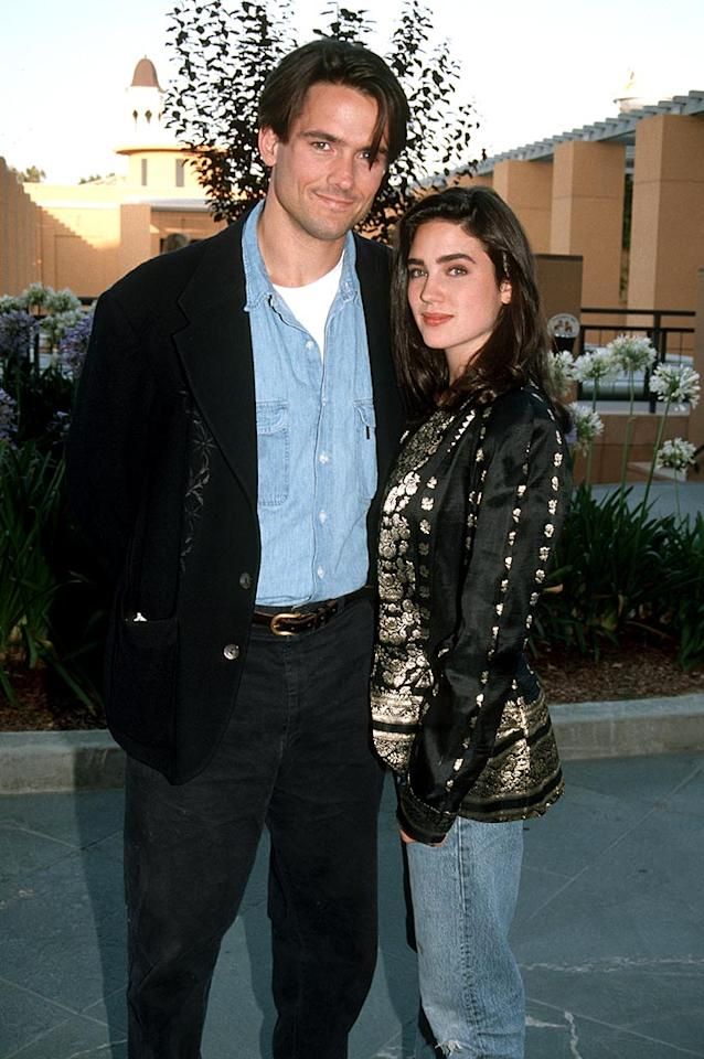 """Sparks flew between Jennifer Connelly and Billy Campbell when they met on the set of """"The Rocketeer."""" Although engaged for a time, they never made it to the altar. Jim Smeal/<a href=""""http://www.wireimage.com"""" target=""""new"""">WireImage.com</a> - June 22, 1991"""