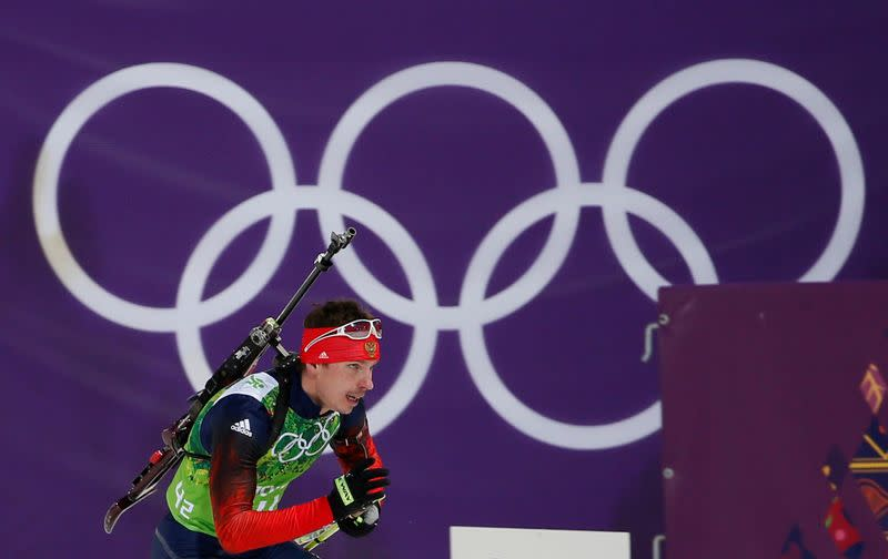 FILE PHOTO: Russia's Ustyugov skis during men's biathlon 4 x 7.5 km relay at Sochi 2014 Winter Olympic Games
