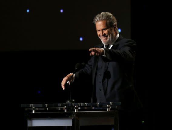 Actor Jeff Bridges speaks on stage at the 8th Annual Governors Awards in Los Angeles, California, U.S., November 12, 2016. REUTERS/Mario Anzuoni
