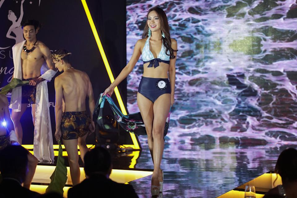<p>Second runner-up Jaslyn Tan, 26, competing in the swimsuit segment at the Miss Universe Singapore Grand Finale at One Farrer Hotel on 31 August 2018. (PHOTO: Don Wong for Yahoo Lifestyle Singapore) </p>