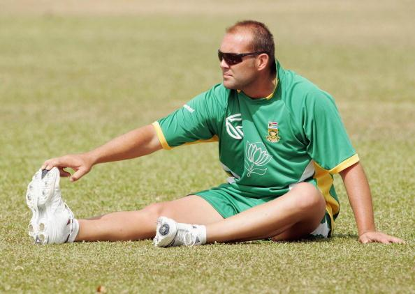 ST. CLAIR, TRINIDAD AND TOBAGO - MARCH 7:  Jacques Kallis stretches during a South Africa nets session at St. Mary's College Grounds on March 7, 2007 in St. Clair, Trinidad and Tobago. (Photo by Duif du Toit/Gallo Images/Getty Images)