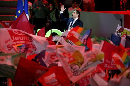 Benoit Hamon, French Socialist party 2017 presidential candidate, delivers his speech at a campaign rally in Paris, France, March 19, 2017.  REUTERS/Charles Platiau