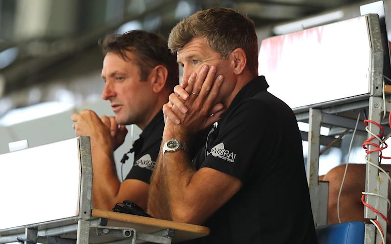 Rob Baxter, the Exeter Chiefs director of rugby looks on during the Exeter Chiefs inter-squad match in preparation for the commencement of the Gallagher Premiership season, at Sandy Park on August 07, 2020 in Exeter, England. Exeter Chiefs were leading the Gallagher Premiership, when all matches were suspended due to the COVID-19 pandemic.  - GETTY IMAGES