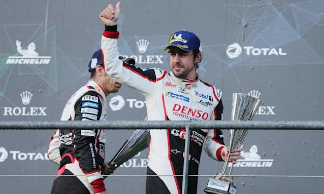 Fernando Alonso celebrates his World Endurance Championship success at Spa, his first win since the 2013 Spanish Grand Prix.