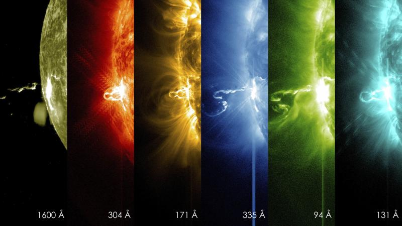 Images from NASA's Solar Dynamics Observatory show significant solar flare in different wavelengths of light