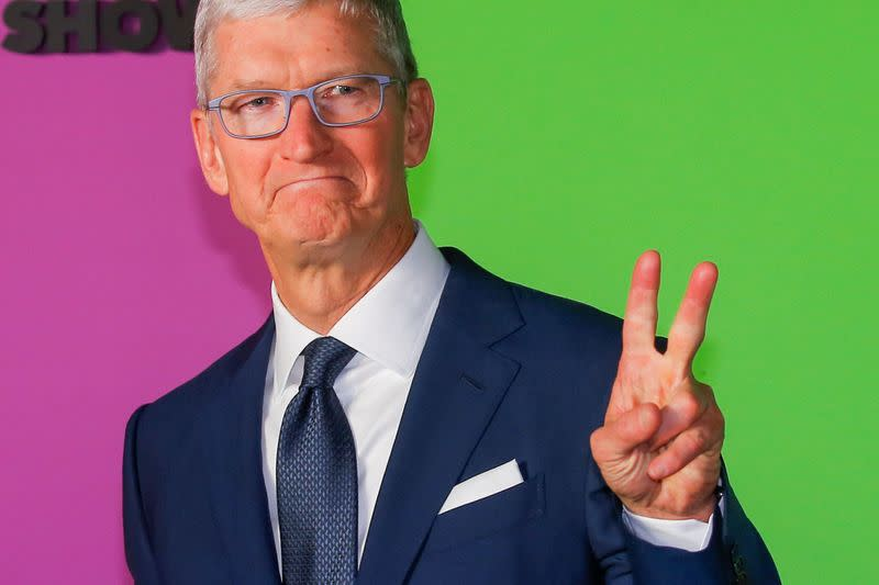 "Apple CEO Cook arrives to the global premiere for Apple's ""The Morning Show"" at the Lincoln Center in the Manhattan borough of New York"