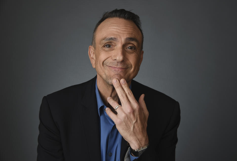 "Hank Azaria, a cast member and executive producer of the IFC comedy series ""Brockmire,"" poses for a portrait during the 2020 Winter Television Critics Association Press Tour, Thursday, Jan. 16, 2020, in Pasadena, Calif. (AP Photo/Chris Pizzello)"