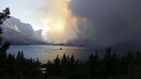 Handout photo of the Reynolds Fire burning in Glacier National Park