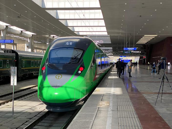 The Fuxing bullet train sits in Lhasa Railway Station