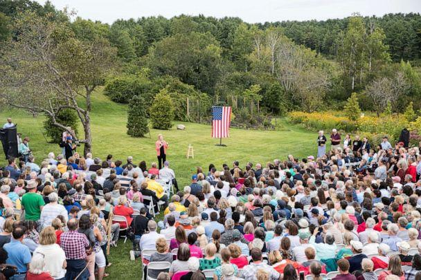 PHOTO: Democratic presidential candidate Elizabeth Warren speaks to a crowd at a Labor Day house party, Sept. 2, 2019, in Hampton Falls, New Hampshire. (Scott Eisen/Getty Images)