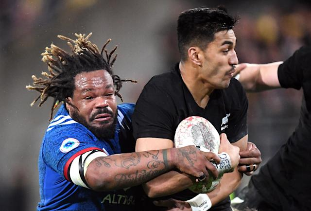 Rugby Union - June Internationals - New Zealand vs France - Westpac Stadium, Wellington, New Zealand - June 16, 2018 - Reiko Ioane of New Zealand is tackled by Mathieu Bastareaud of France. REUTERS/Ross Setford